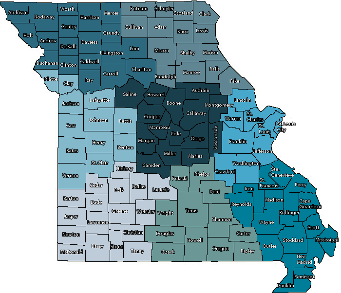 Missouri map with counties