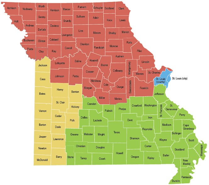 Department Of Public Safety CVC Regions By Counties Map - Missouri counties map