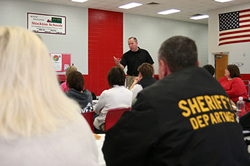 The Missouri Department of Public Safety, Office of Homeland Security funds training that brings together teachers, school administrators and law enforcement personnel for a one-day course on how to lockdown schools, strengthern security and respond to school intruders. On Jan. 2, 2013, the course was held at Stockton Elementary School in Stockton, Mo.