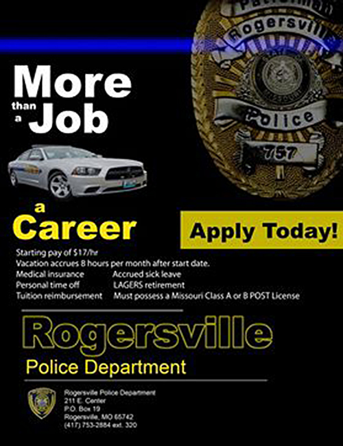 Apply today at Rogersville Police Department - More than a job, a Career